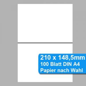 DIN A4 halbiert, perforiert auf DIN A5 - 210 x 148,5 - 2er Nutzen auf DIN A4