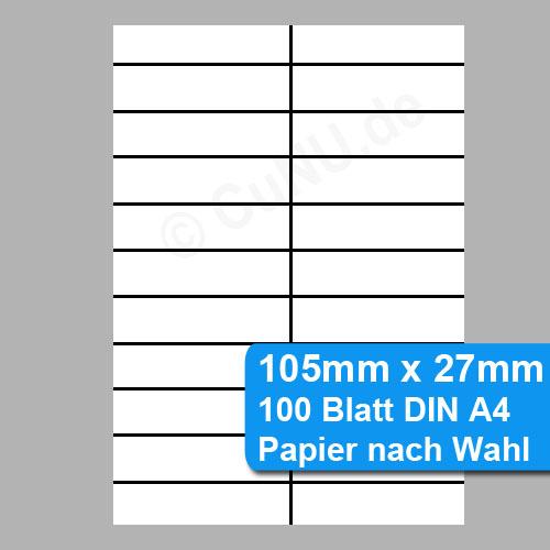 nicht klebende Etiketten 105mm x 27mm