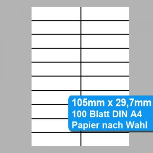 Perforiertes Papier - nicht klebende Etiketten 105mm x 29,7mm