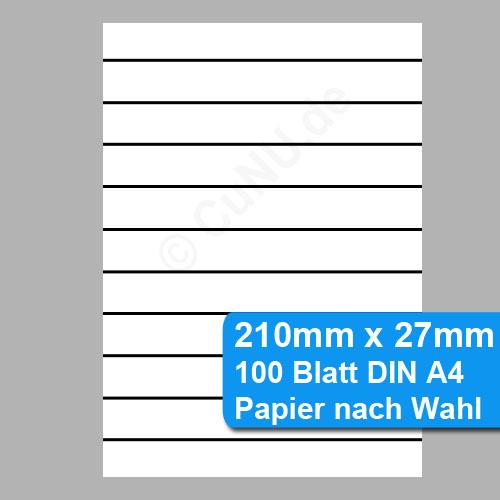 Perforiertes Papier - nicht klebende Etiketten 210mm x 27mm