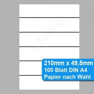nicht klebende Etiketten 210mm x 49,5mm