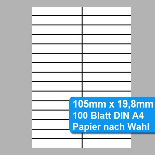 nicht klebende Etiketten 105x19,8mm