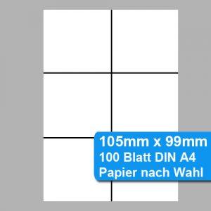 105mm x 99mm Etiketten aus perforiertem DIN A4 Papier