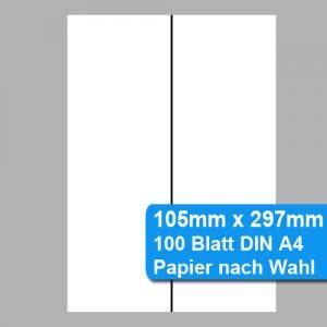 halbiertes DIN A4 Papier perforiert auf 105x297mm