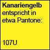Kanariengelb entspricht in etwa Pantone 107U