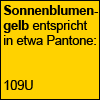 Sonnenblumengelb entspricht in etwa Pantone 109U