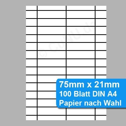 Schilder, Etiketten für Sichtlagerkästen 75x21mm